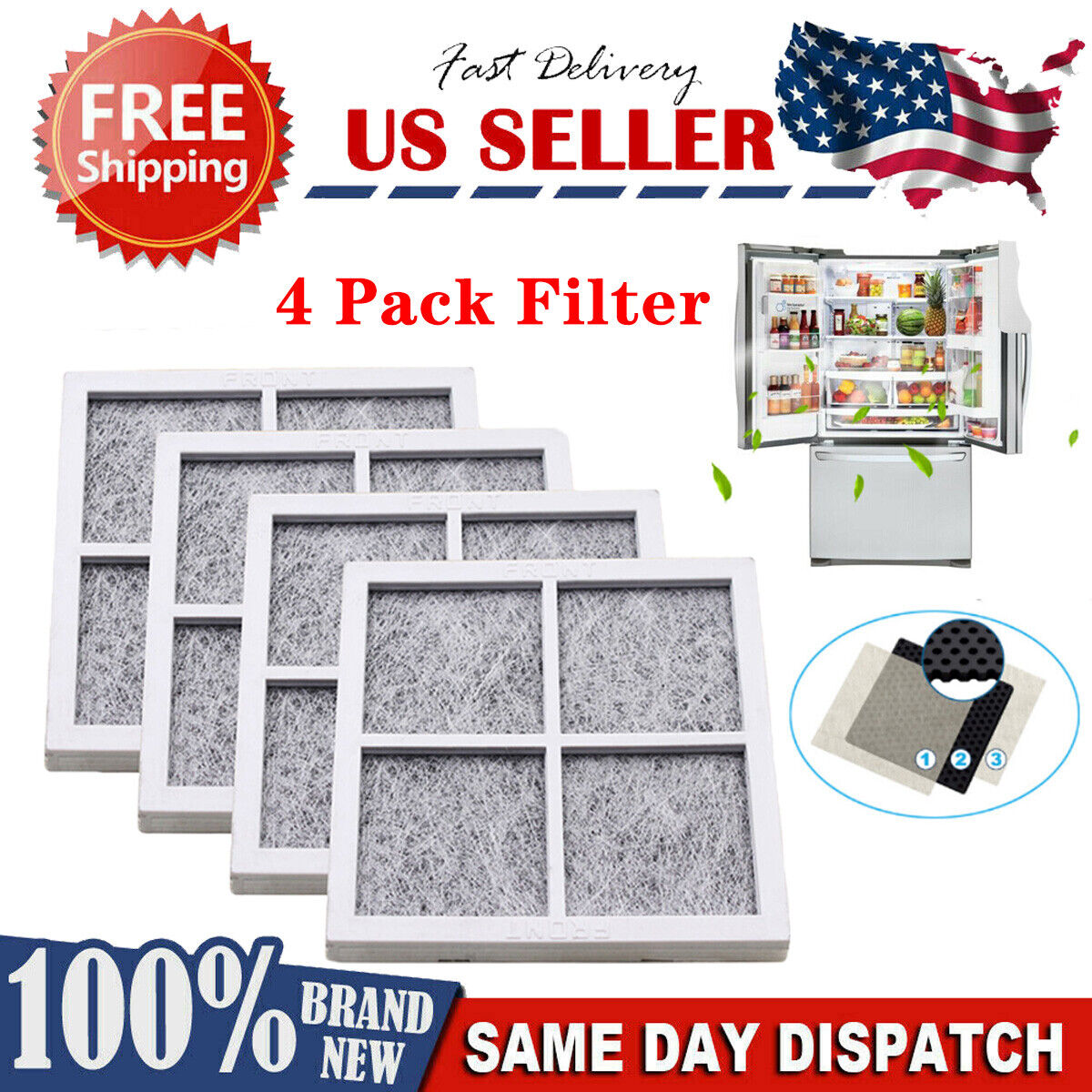 For LG LT120F ADQ73214404 Fresh Air Replacement Refrigerator Air Filter 4 Pack