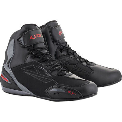 Alpinestars Black/Gray/Red Faster-3 Drystar Riding Shoes ( Mens Size 9 )
