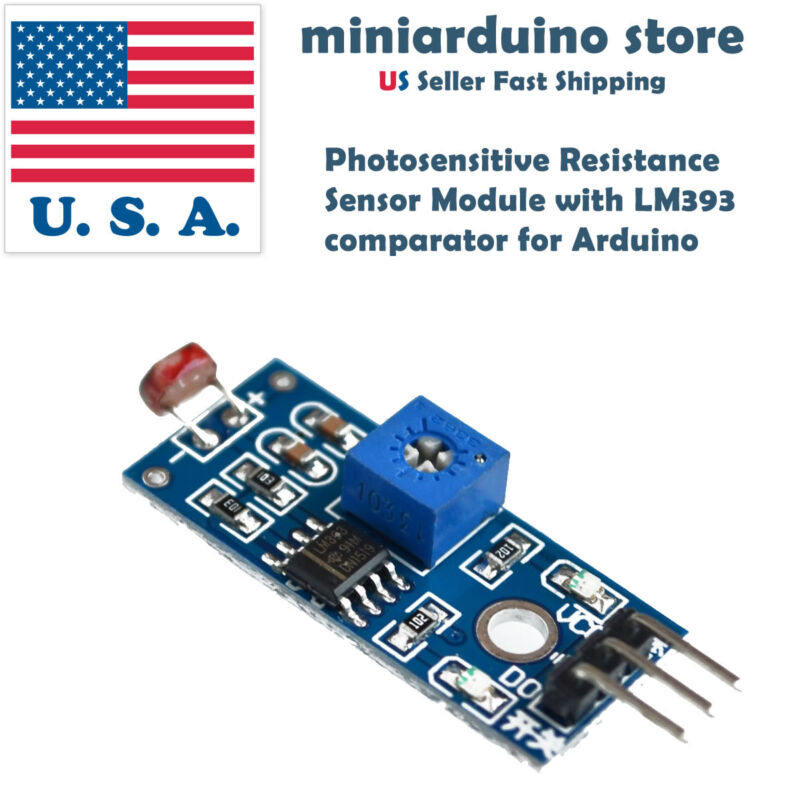 Photosensitive Resistance Sensor Module with LM393 comparator for Arduino 3 pin
