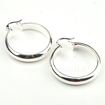 (925 Sterling Silver Classic 30mm Medium-Size 5mm wide Flat Hoop Earrings H64)