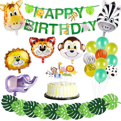 Jungle Animals Balloons Set Foil Balloon Turtle Leaves Birthday Party Decoration](Jungle Leaves Decorations)