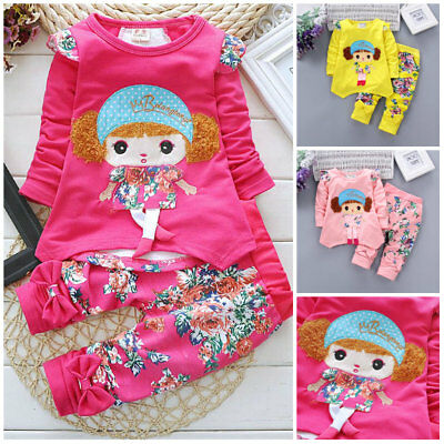 2pcs Kids Baby Girls spring Outfits cotton Tops Long Pants Clothes floral girl - Girls Spring Clothing