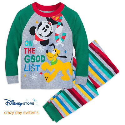 Disney Mickey Mouse & Pluto Holiday Pajamas  Boys PJ Set Big Kids Size 8 10  (Boys Holiday Pajamas)