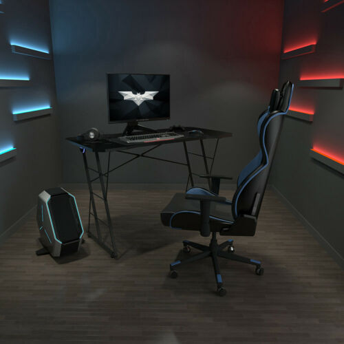 Z-Shaped Gaming Desk Computer Table Home office Racing Table w//Blue LED Light