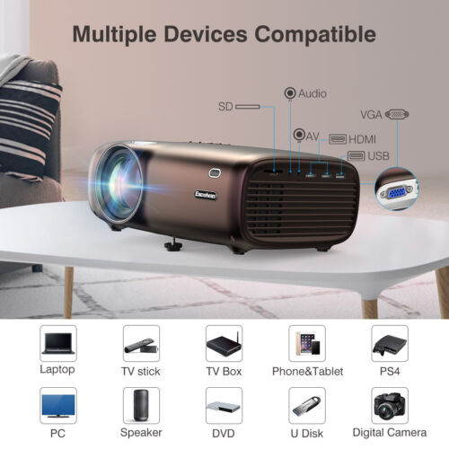 """4000 Lumens Home Theater Projector 200"""" 720P 1080P For Lapto"""