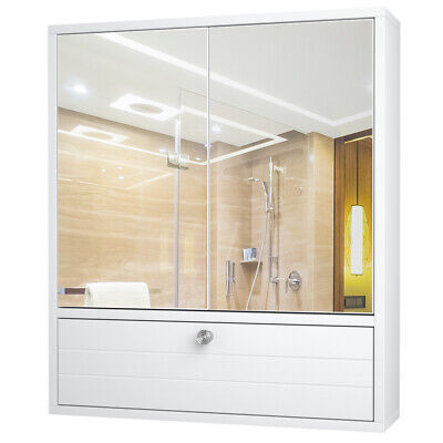 Bathroom Cabinet Wall Mount W/Double Mirror Door Storage Woo