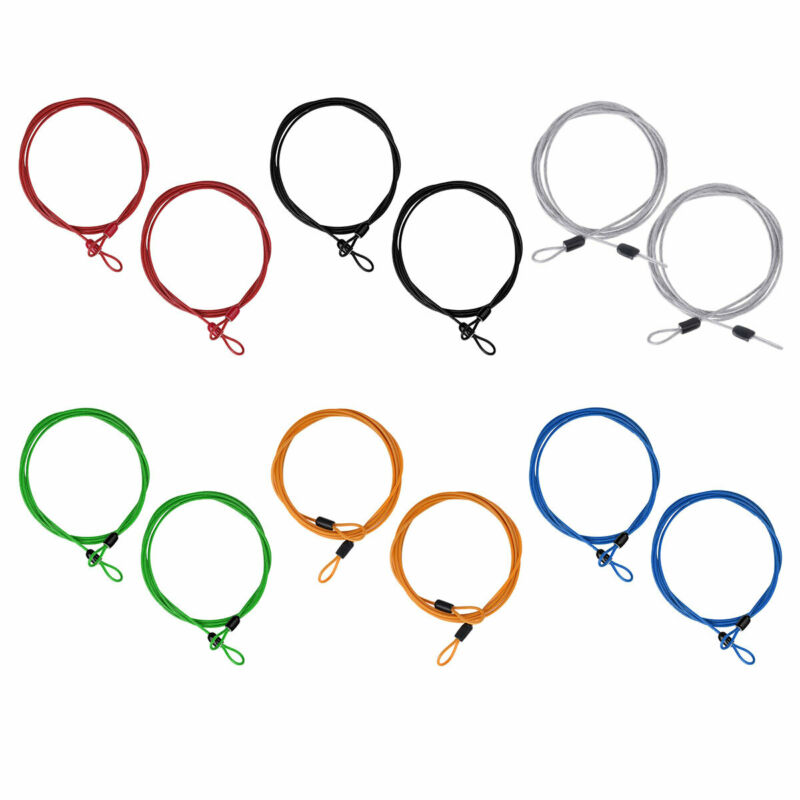 2Pc Lock Wire Extender Braided Steel Double Loop Secure Anti Theft Coil Cable 2m