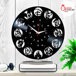 Disney World Wall Clock Vinyl Record Vintage Decor Characters Gifts for Kids