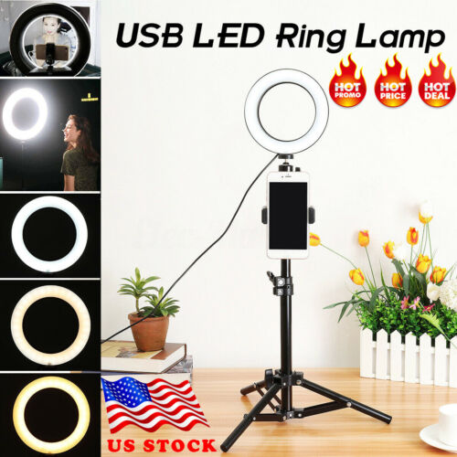 Portable Ring Light LED Camera Lamp+Tripod Stand Phone Holde