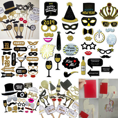 2019 Happy New Year's Eve Party Supplies Masks Photo Booth Props Decoration