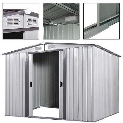 8'x8' Utility Tool Storage Shed Backyard Metal Garden Kit Building Steel Outdoor