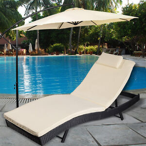 adjustable pool chaise lounge chair outdoor patio furniture pe wicker