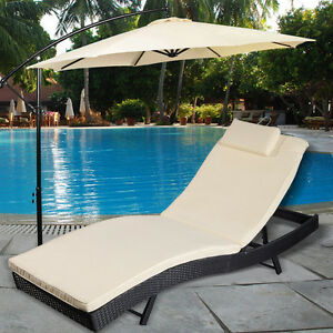 Adjustable Pool Chaise Lounge Chair Outdoor Patio Furniture PE Wicker  W/Cushion