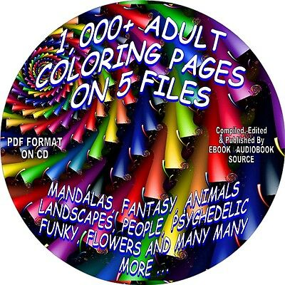 Adult Coloring Pages-1,000+ Coloring Pages on CD-5 PDF FILES - MANDALAS, PEOPLE