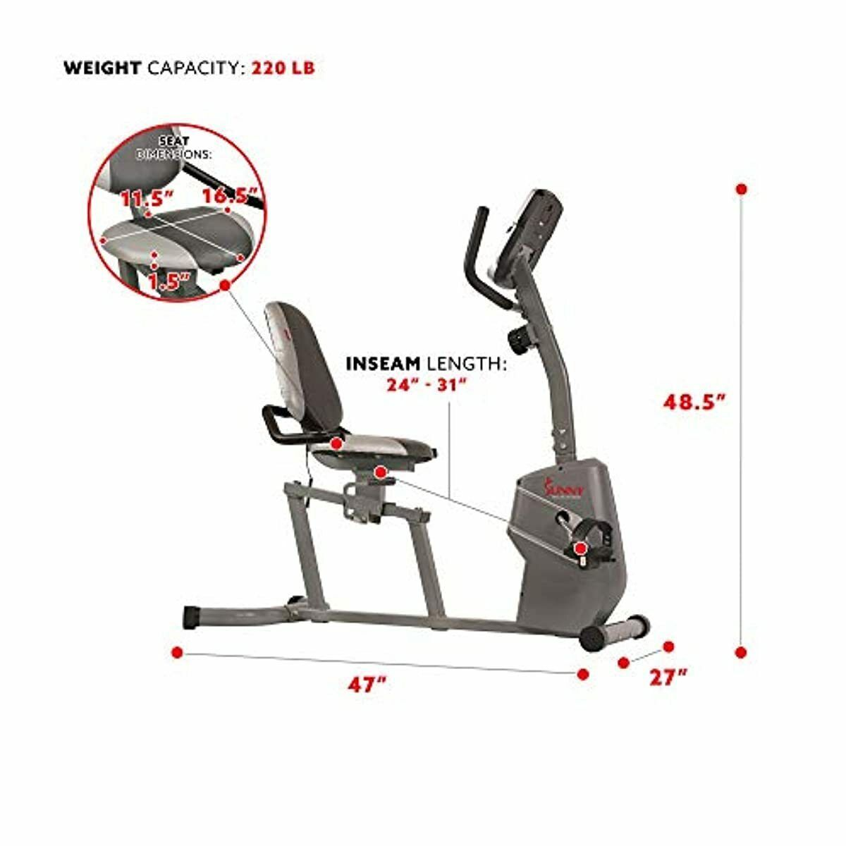 Recumbent Exercise Bike Stationary Adult Fitness Gym Magnetic Cheap