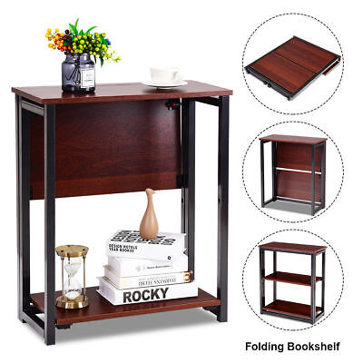 Small Multifunctional 3 Tier Shelves Folding Bookcase Shelf Bed Side End Table  ()