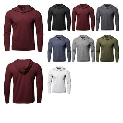 FashionOutfit Men's Premium Quality Long Sleeves Thermal Hooded Henley T-Shirt ()