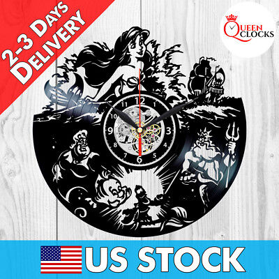 Little Mermaid Wall Clock Disney The Vinyl Record Kids Decor Birthday Best Gifts (Little Mermaid Recorder)