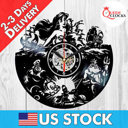 Little Mermaid Wall Clock Disney The Vinyl Record Kids Decor Birthday Best Gifts