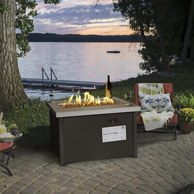 LPG Fire Pit Outdoor Gas Fireplace Propane Heater Patio Backyard Deck w/ Cover Backyard Patio Covers