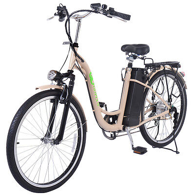 26'' 250W Electric Bicycle EBike Mountain Speed Change Lithium Battery Beige