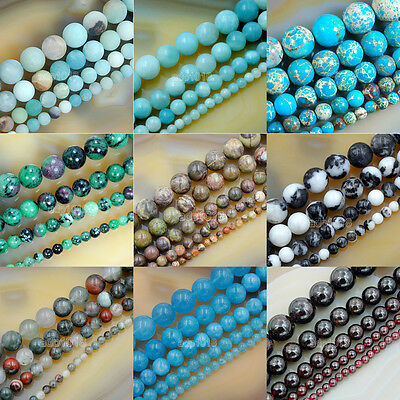 Wholesale Smooth Natural Gemstone Round Loose Beads 15  4mm 6mm 8mm 10mm 12mm