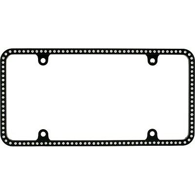Swarovski Clear Crystal Bling Slim license plate frame Inlay Black Frame