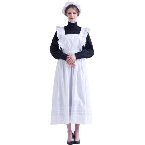 Victorian Edwardian Housekeeper Servant Cosplay Walking Dress Maid Apron Costume