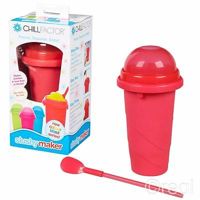 New Chill Factor Red Slushy Maker Frozen Ice Drink Squeeze Official