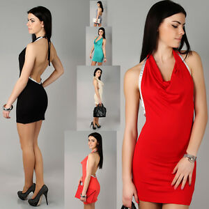 Sensual-Cowl-Neck-Womens-Dress-Open-Back-Sleeveless-Bodycon-Size-8-12-8504