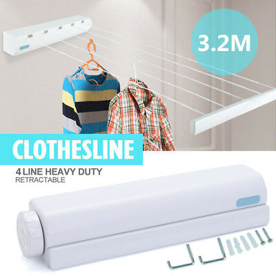 3.2m 4 Line Rope Retractable Clothesline Hooks Clothes Dryer