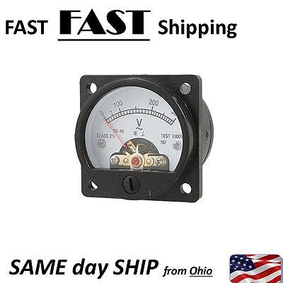 Ac 0-300v Round Analog Dial Panel Meter Voltmeter Gauge Black New