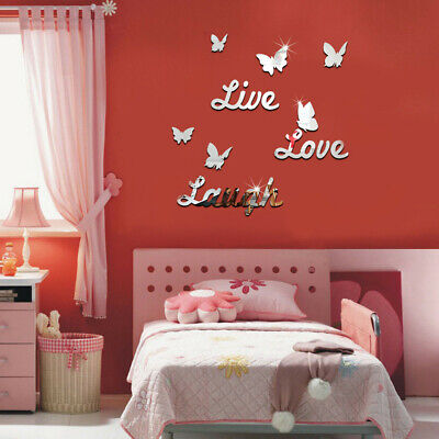 Home Decoration - UK 3D Mirror Butterfly Wall Sticker Acrylic Vinyl Decal Art Home Room Decoration