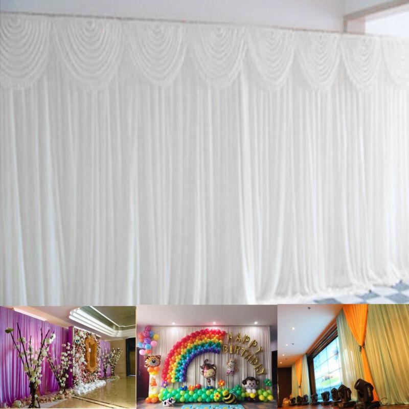 3*3M Weiß Silk Tuch Hochzeitsfest Hintergrund Vorhang drapiert Hintergrund