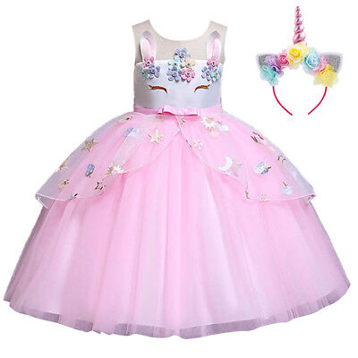 Flower Girl Unicorn Dress for Kid Party Tutu Birthday Princess Cosplay Costume - Costume Flower