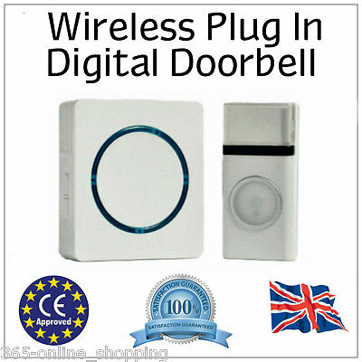 32 Chime Wireless Door Bell Cordless 100M Range Melody White Blue led Front door