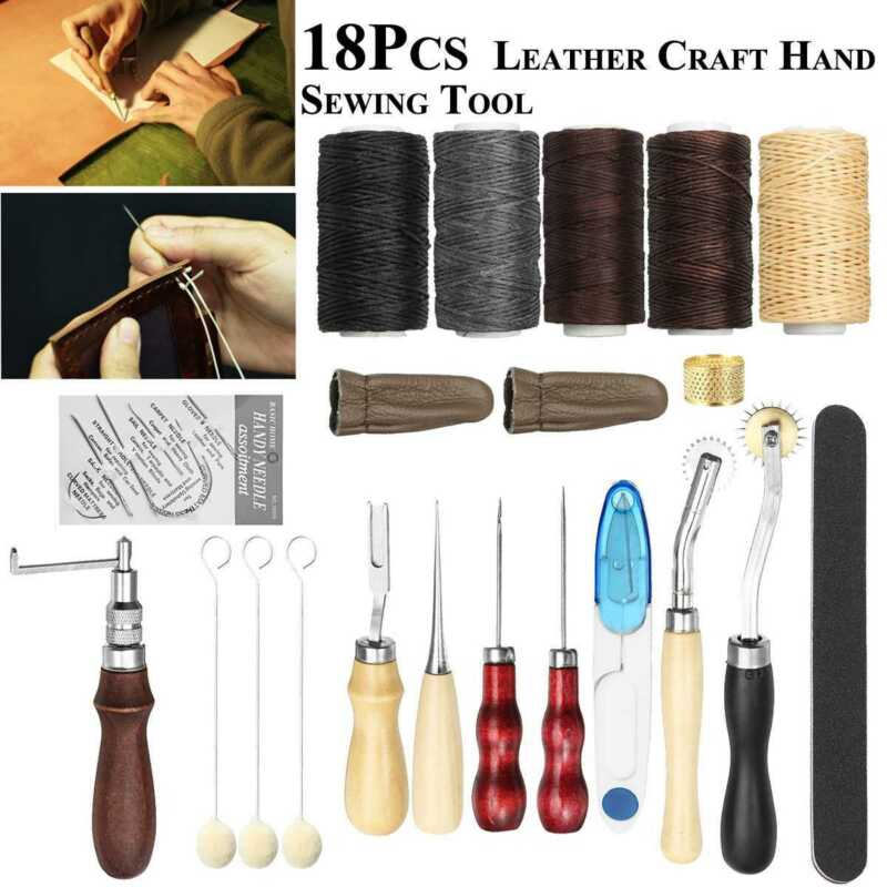 18pieces of leather craft sewing DIY hand-stitched with Groover Awl edge crease