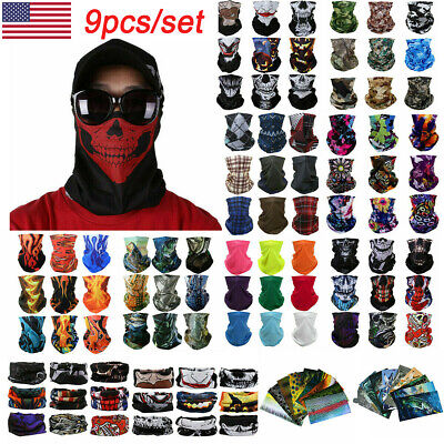 9pcs/set FACE Sun Cover Balaclava Bandana Scarf Skull Hair Headband Cycling USA