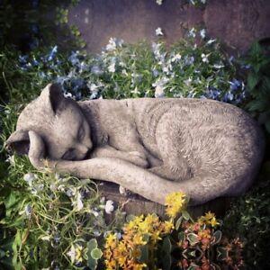 STONE GARDEN SLEEPING CAT / LYING KITTEN ORNAMENT STATUE MEMORIAL FIGURE