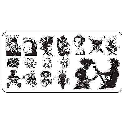 XL Stamping Schablone Skull Punk Rock Totenkopf Nailart Halloween Platte #3 ()