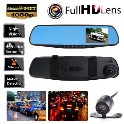 1080P HD Dual Lens Car Auto DVR Mirror Dash Cam Recorder+Rear View Camera Kits