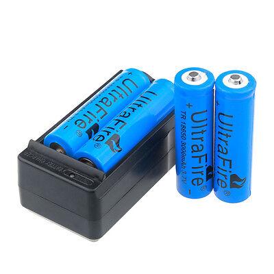 4pcs UltraFire 3000mAh 18650 Battery 3.7v Li-ion Rechargeable Batteries +Charger