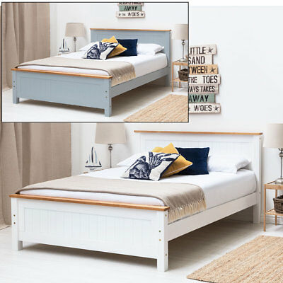 Modern Solid Wooden Bed Frame Oak Trim Single Double King Size White / Grey
