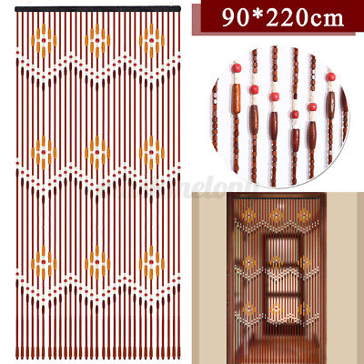 US 90x220cm Wooden Bead String Curtain Blinds Fly Screen Porch Living Bedroom