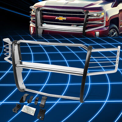 Headlight Brush Guard - For 14-18 Chevy Silverado Front Bumper Headlight/Grille Brush Guard Protector
