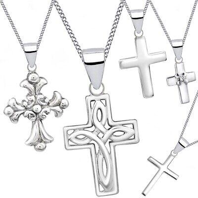 Kreuz Anhänger Halskette 925 Echt Silber Taufe Damen Mädchen крест серебряный ()