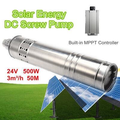 500w 24v 50m 3m3h Dc Brushless Solar Powered Water Pump Submersible Deep Well