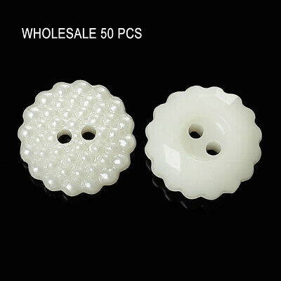 50 PCs Acrylic Sewing Buttons Scrapbooking 2 Holes Flower Off-white Dot Carved - 50 Off Costumes