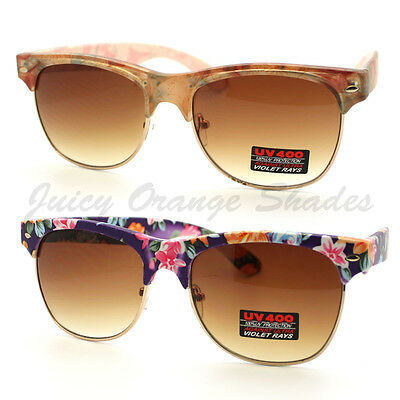 Floral Sunglasses (Flower Print Sunglasses Womens Vintage Floral Print Frame Matted UV)