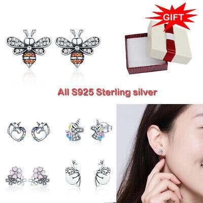 BAMOER Verschiedene Stile Zirkon Ohrringe 925 Sterling Silber für Frauen Schmuck